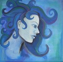 Figural, Frau, Blau, Acrylmalerei