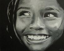 Malerei, Schwarz weiß, Portrait, Mädchen