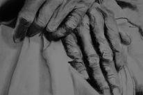 Pastellmalerei, Kohlezeichnung, Hände, Zeichnung