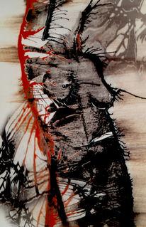 Akt, Abstrakt, Blut, Malerei