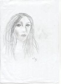 Zeichnung, Bleistiftzeichnung, Schwarzweiß, Portrait