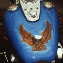 Auftragsmalerei, Adler, Blau, Airbrush