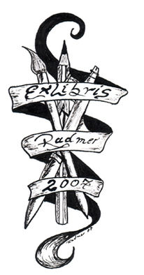 Symbol, Zeichnung, Exlibris, Tuschmalerei