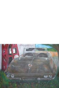 Auto, Fahrzeug, Mischtechnik, Malerei