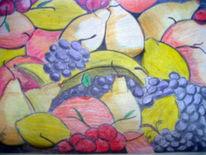 Früchte, Malerei, Stillleben, Buntstifte