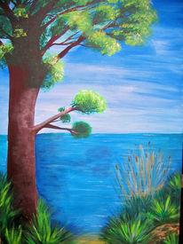 Malerei, Wasser, Baum, Landschaft