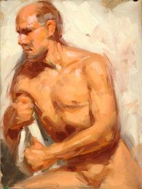 Figur, Studie, Ölmalerei, Akt
