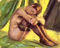Figur, Akt, Ölmalerei, Malerei