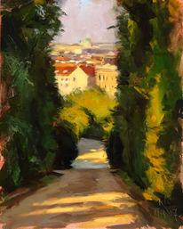 Ölmalerei, Plein, Luft, Stadtlandschaft