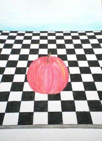 Zeichnung, Apfel, Stillleben, Karo