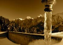 Brunnen, Wasser, Sepia, Zahm