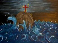 Figural, Kreuz, Meer, Rettung
