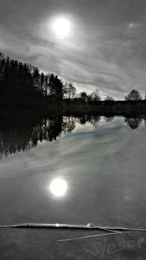 Sonne, Reflexion, Licht, Weiher