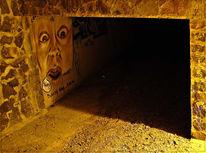 Schreck, Frau, Graffiti, Blick