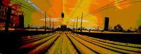 Digital, Spiegelung, Straßenbahn, Panorama