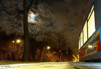 Nacht, Mond, Straßenbahn, Finsterniss