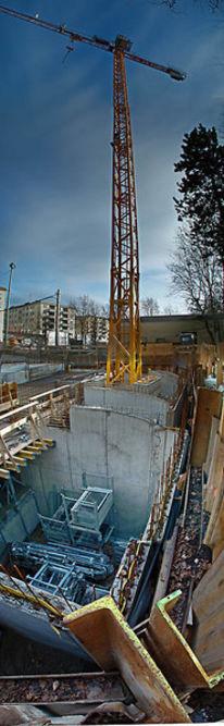 Vertikalpanorama, München, Baustelle, Schwabing