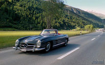 Cabrio, Benz, Mercedes, Stau