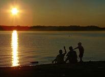 Sonnenuntergang, Jungs, Steinewerfen, Reiseimpressionen