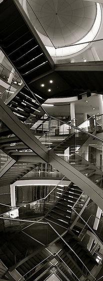 Zentrale, Vertikalpanorama, Architektur, Treppenhaus