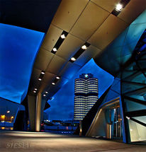 Vertikalpanorama, Zylinder, Blaue stunde, Brücke