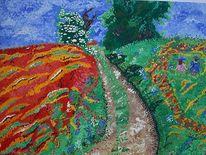 Landschaft, Malerei, Mohnfeld