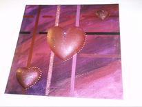 Herz, Abstrakt, Rosa, Malerei