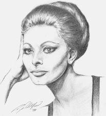 Realismus, Bleistiftzeichnung, Frau, Portrait