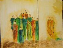 Malerei, Gruppe, Abstrakt, Menschen