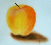 Apfel, Zeichnung, Stillleben, Gelb