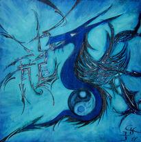 Ying yang, Drache, Blau, Malerei