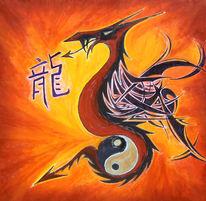 Drache, Ying yang, Malerei, Rot