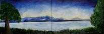 See, Berge, Baum, Panorama