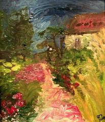 Garten, Malerei, Blumen, Labyrinth