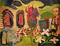 Baum, Blumen, Säule, Tiere