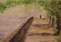 Malerei, Landschaft, Spaziergang, Baum