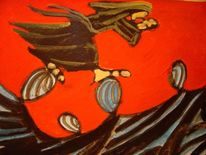 Tusche, Rot, Figural, Malerei