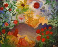 Mädchen, Ölmalerei, Tiere, Landschaft