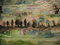 Baum, Landschaft, Nacht, Aquarellmalerei