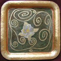 Kunsthandwerk, Metall, Tablett, Blumen