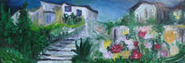 Haus, Landschaft, Treppe, Malerei
