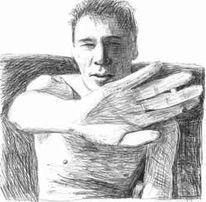 Zeichnung, Mann, Portrait, Kugelschreiber
