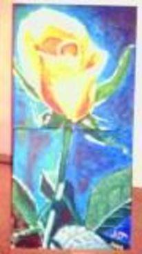 Blume gelb rose, Malerei, Kunstlos, Kitsch