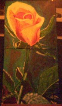 Blumen, Acrylmalerei, Rose, Tonne