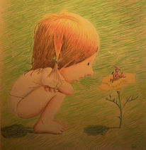 Buntstiftzeichnung, Kitsch, Mädchen, Käfer