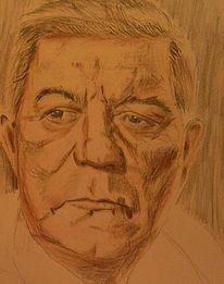 Portrait, Buntstiftzeichnung, Skizze, Gabin