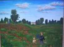 Mohnblumen, Landschaft, Feld, Ölmalerei