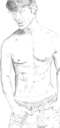 Skizze, Kugelschreiber, Portrait, Mann