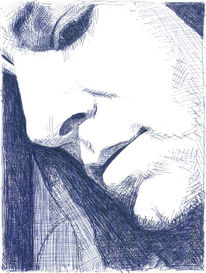Portrait, Gesicht, Mann, Blau