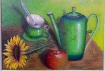 Tasse, Stillleben, Kanne, Apfel
